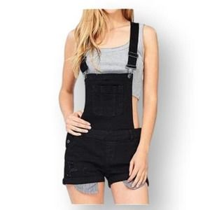 Wax Jean Denim Shorts Overalls Distressed Small